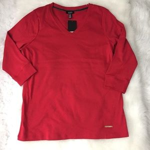 JONES NEW YORK Red V-Neck 3/4 Sleeve Sz 1X